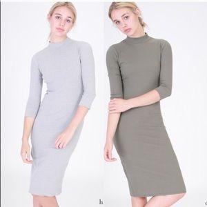 April Spirit Dresses & Skirts - Beautiful mock neck ribbed 3/4 sleeve dress (gray)
