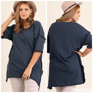 Tops - PLUS--Hi Low Tunic with Fringed Hem--ONE LEFT