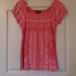 Absolutely Famous Tops - Lace-like design top; coral