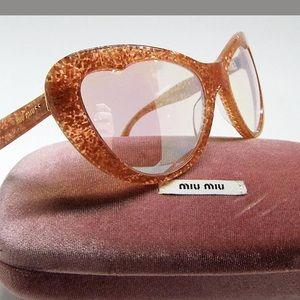 Authentic Miu Miu Orange Glitter Cateye Sunglasses