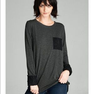 Charcoal & Black, Lace Up top, French Terry!