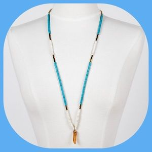 NWT Turquoise and Cream Necklace w/ Crystal