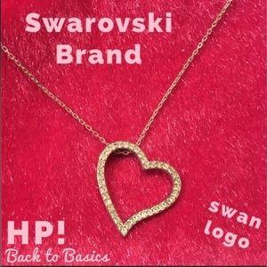 HP SWAROVSKI Brand Asymmetrical Heart Pendant Swan
