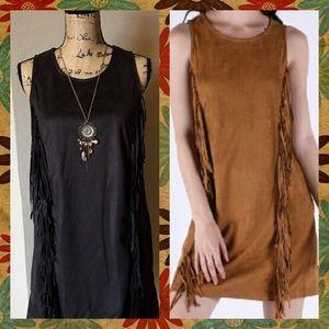 Very J Dresses & Skirts - SALE🌟BLACK Suede Fringe Dress ✨NWT✨