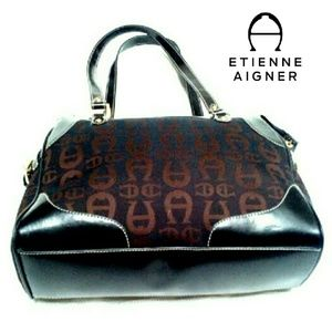 "Etienne Aigner Handbags - ETIENNE AIGNER SIGNATURE ""A""  CLOTH &;LTHR BAG"