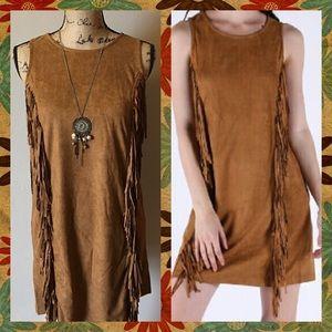 Very J Dresses & Skirts - SALE🌟TAN Suede Fringe Dress ✨NWT✨