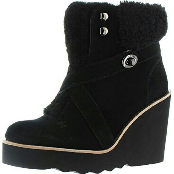 Coach Shoes - Coach Kenna Wedge sheepskin  Blk Booties Boot sz 9