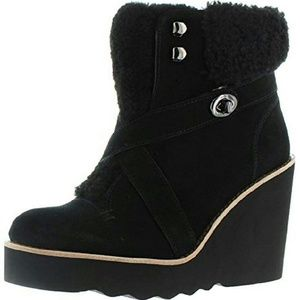 Coach Kenna Wedge sheepskin  Blk Booties Boot sz 9