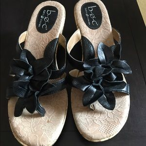 Shoes - Born Black Leather Sandal Wedges