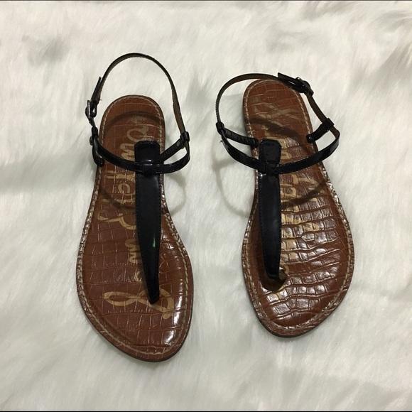 42848e1dc30 Sam Edelman Gigi thong black sandal stacked heel. M 5886320ff0137da7ff009272