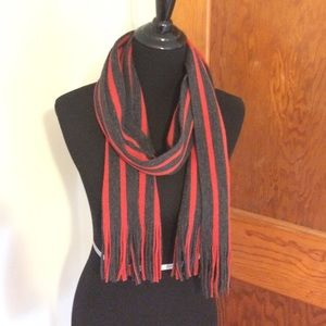 Jack and Jones Other - Red & gray thick, fringed Jack & Jones scarf