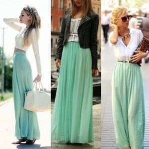 Sale!! •LAST ONE• Sage Long Chic Pastel Maxi Skirt