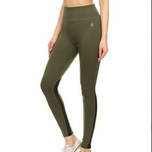 Pants - New olive black mesh yoga workout leggings