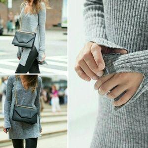 ZARA Knit Ribbed Slit Sweater Dress Medium