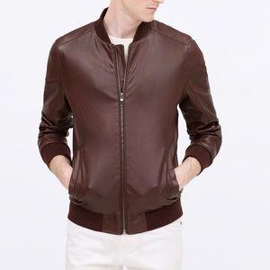 Zara Other - Zara Leather Faux Bomber Jacket