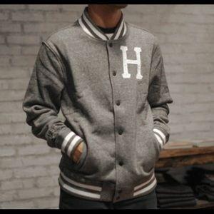 HUF Other - HUF Heather Gray Varsity Bomber Jacket
