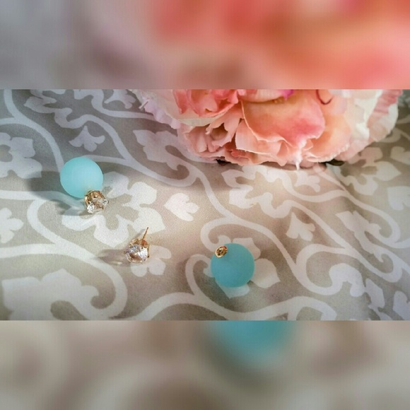 Jewelry - Double Sided Aqua Glass Stud Earrings