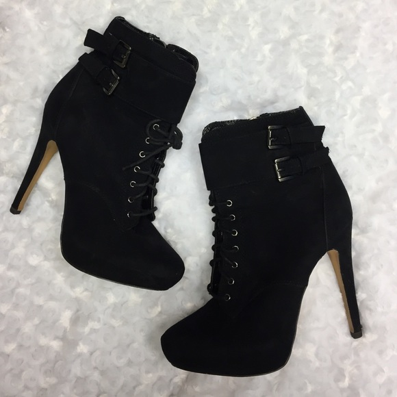a40382f1afc7 Aldo Shoes - ALDO black suede zippered lace up stiletto booties