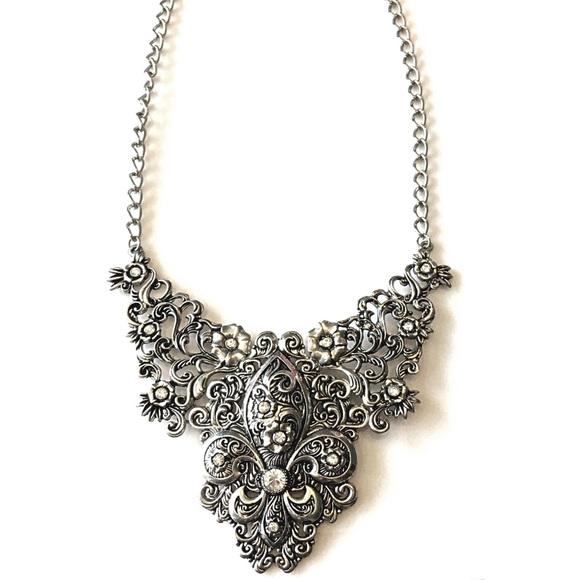 Boutique Jewelry - Fleur de Lis Statement Necklace Silver Rhinestone