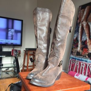 Nicole Lee Shoes - Brown distressed tall Boots western style size 8