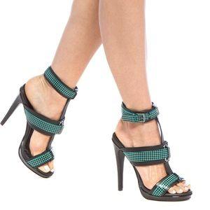 Paper Fox Shoes - Black green heels reptilian-embossed