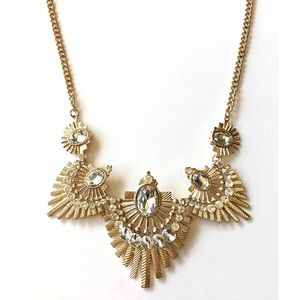 Boutique Jewelry - Art Deco Statement Necklace Rhinestone Gold New