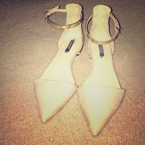 Zara Basic Gold ankle strap suede flats-40