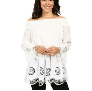 Adrianna Papell Tops - Adrianna Papell Embroidered Voile off shoulder top