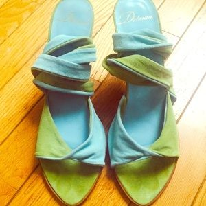 Delman Shoes - Delman blue and green suede sandal.