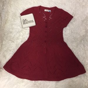 Anthropologie Sparrow red cable knit dress size S