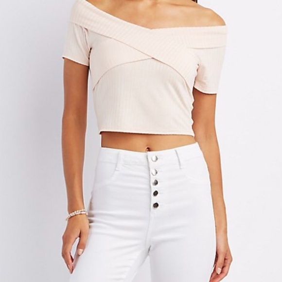 4319204ad6fac4 Blush Pink Charlotte Russe Off the Shoulder Top