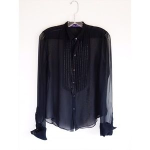 Ralph Lauren Purple Label Tops - Ralph Lauren Collection Sheer Black Tuxedo Shirt