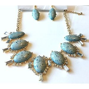 NatureAngels Jewelry - Hand Crafted Statement Necklace Earrings Set Blue