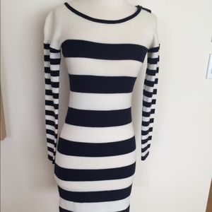 Navy and White Striped Sweater Dress