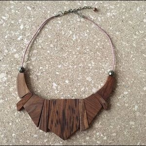 Wooden geometric statement necklace