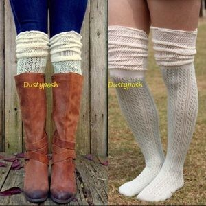 HUE Accessories - Crochet Over The Knee Socks Knit Thigh High Boot
