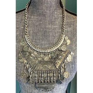 Boho Coin Statement Necklace Bib Rhinestone Silver