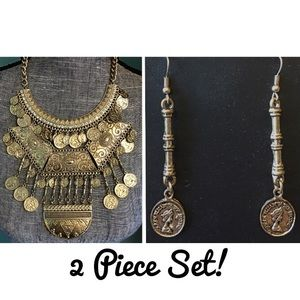 Boutique Jewelry - Coin Rhinestone Statement Bib Necklace Earrings