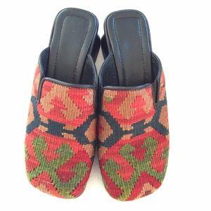 Shoes - Unique Turkish woven rug mules size 8-8.5