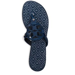 Authentic Tory Burch Miller navy blue sandals 9