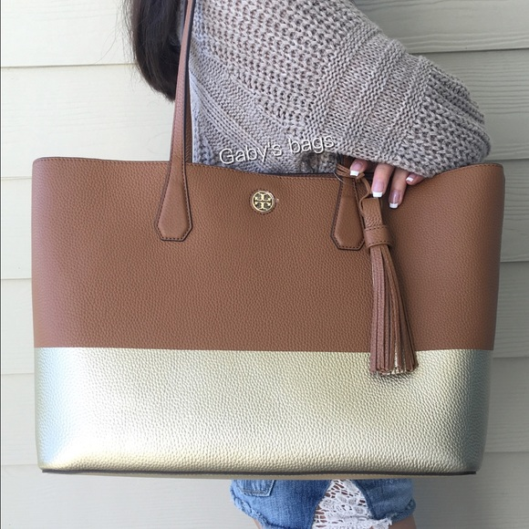 102ef6d4a3c Tory Burch Perry Tote Colorblock Gold Brown Tassel