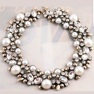 Mixed Faux Pearl Crystal Statement Bib Necklace