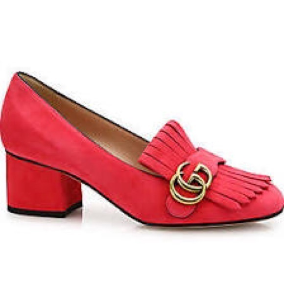 aaea03fbe0b Gucci Shoes - Gucci Marmont GG Suede Block Heel Pumps