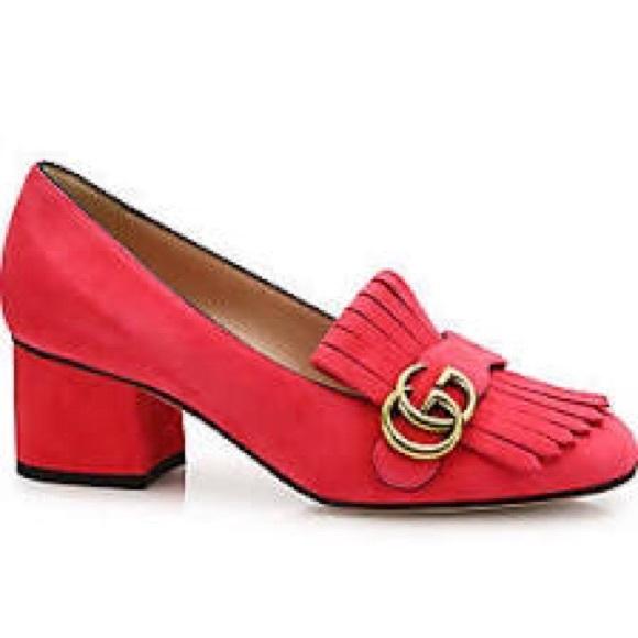 6b3793307 Gucci Shoes | Marmont Gg Suede Block Heel Pumps | Poshmark