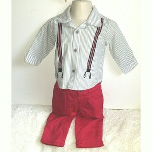 Children's Place Other - Baby Boys Suspenders Outfit
