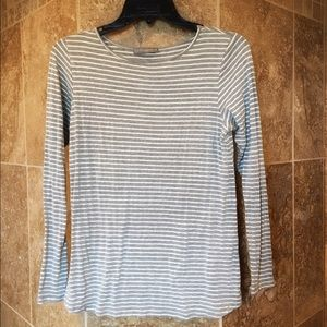 Loveappella Tops - Loveappella Grey and White Striped Shirt