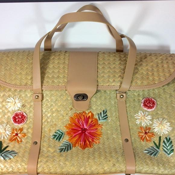 Nicole Lee - Nicole Lee Large Straw Beach Bag w/ Floral Design ...