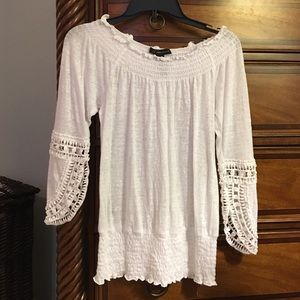 EUC!! INC White Beaded Top, Size XS