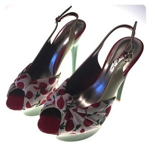 Shoes - 🏆2x HP 🏆Cherry Open Toe Sling Back Heels