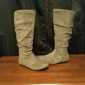 Gray Faux Suede Boots
